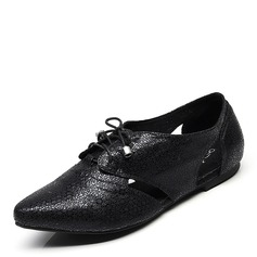 Frauen Kunstleder Flache Schuhe Moderner Style Tanzschuhe