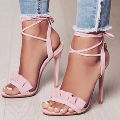 Frauen Veloursleder Stöckel Absatz Sandalen Absatzschuhe Peep Toe Slingpumps Schuhe