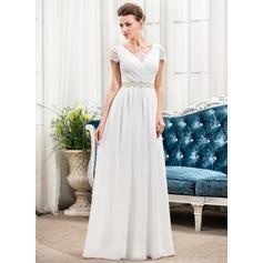 A-linjeformat V-ringning Golvlång Chiffong Bröllopsklänning med Rufsar Spets Beading Paljetter