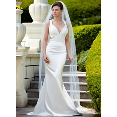 Trumpet/Mermaid V-neck Sweep Train Charmeuse Wedding Dress With Ruffle Beading Sequins
