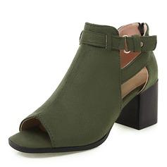 Женщины PU Устойчивый каблук Сандалии На каблуках Открытый мыс с пряжка обувь