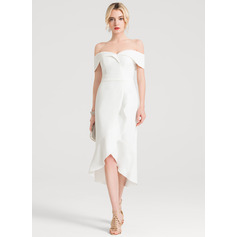 Trumpet/Mermaid Off the Shoulder Asymmetrical Stretch Crepe Wedding Dress With Ruffle Cascading Ruffles