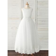 Balo Elbisesi/Prenses Şapel Kuyruk/çıkarılabilir Çiçek Kız Elbise - Tül/Dantel Kolsuz Yuvarlak Yaka