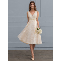 Corte A Decote V Coquetel Renda Vestido de noiva com Curvado