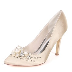 Women's Silk Like Satin Stiletto Heel Pumps With Pearl Rivet