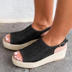Femmes Cuir en microfibre Talon compensé Sandales chaussures