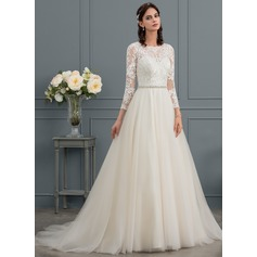 Ball-Gown/Princess Scoop Neck Court Train Tulle Wedding Dress With Beading