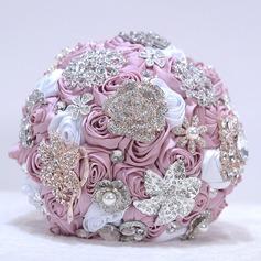 Round Satin/Rhinestone Bridal Bouquets -