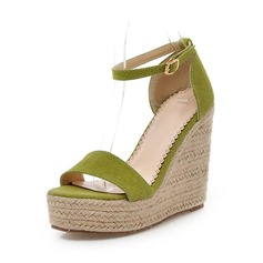 Suede Wedge Heel Sandals With Buckle shoes