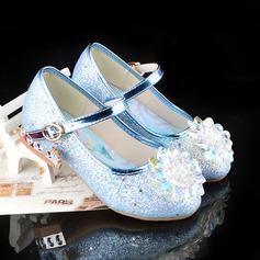 Jentas Round Toe Lukket Tå Leather lav Heel Flate sko med Spenne Glitrende Glitter Crystal