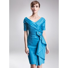 Sheath/Column Off-the-Shoulder Knee-Length Taffeta Mother of the Bride Dress With Beading Cascading Ruffles