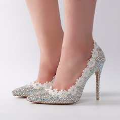 Women's Real Leather Stiletto Heel Pumps With Rhinestone Flower