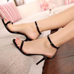 Naisten Kiiltonahka Piikkikorko Sandaalit Peep toe jossa Nauhakenkä kengät