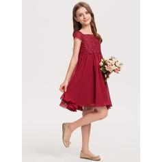 A-Linie Off-the-Schulter Knielang Chiffon Spitze Kleid für junge Brautjungfern mit Schleife(n) (009208578)