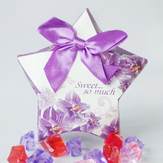 Floral Design Favor Boxes With Bow