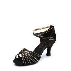 Mulheres Cetim Saltos Sandálias Latino com Correia de Calcanhar Fivela Sapatos de dança