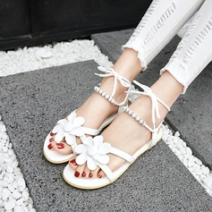 Kvinner Lær Flat Hæl Sandaler Beach Wedding Shoes med Blomst Blondér