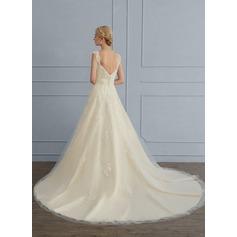 Balklänning Älskling Court släp Tyll Bröllopsklänning med Paljetter