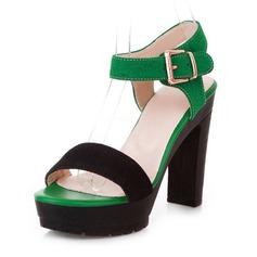Women's Leatherette Chunky Heel Sandals Pumps Platform Peep Toe Slingbacks With Buckle shoes