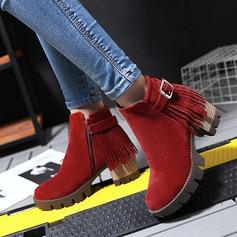 Mulheres Camurça Salto robusto Bombas Plataforma Bota no tornozelo com Franja sapatos