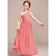 A-Line One-Shoulder Floor-Length Chiffon Lace Junior Bridesmaid Dress (009081131)