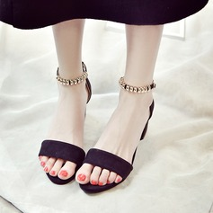 Women's Suede Chunky Heel Sandals Pumps Slippers With Buckle shoes