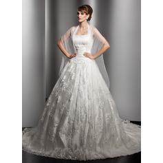 Duchesse-Linie Kapelle-schleppe Spitze Brautkleid mit Rüschen Perlen verziert