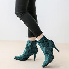 Женщины бархат Высокий тонкий каблук На каблуках Ботинки обувь