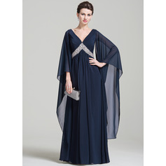 Empire V-neck Floor-Length Chiffon Evening Dress With Ruffle Sequins (017092349)