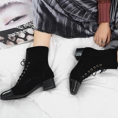 Mulheres Camurça Couro Salto baixo Bombas Bota no tornozelo com Aplicação de renda sapatos
