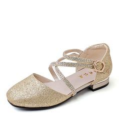 Flicka Stängt Toe Ballett Flat Microfiber läder platt Heel Platta Skor / Fritidsskor Flower Girl Shoes med Spänne Glittrande Glitter