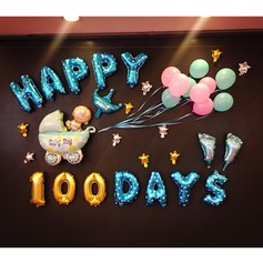 "16inch Baby Boy ""Happy 100day"" Balloons Set (Set of 16) Gifts"