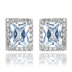 Classic Zircon/Platinum Plated Ladies' Earrings (011075134)