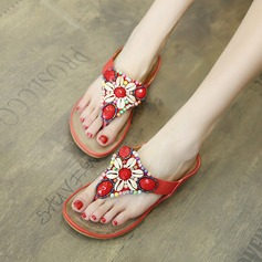 Women's PU Flat Heel Wedges Flip-Flops With Beading shoes