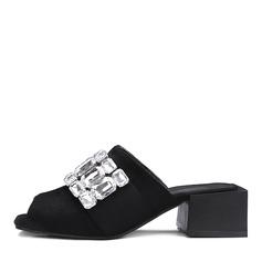 Vrouwen Suede Chunky Heel Sandalen Pumps Peep Toe Slingbacks met Strass schoenen