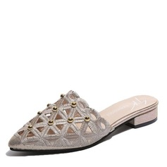 Frauen Stoff Niederiger Absatz Flache Schuhe Geschlossene Zehe Slingpumps Pantoffel mit Niete Schuhe