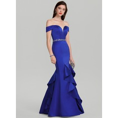 Trumpet/Mermaid Off-the-Shoulder Floor-Length Satin Evening Dress With Beading Sequins