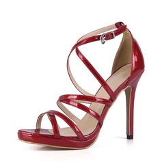 Frauen Lackleder Stöckel Absatz Sandalen Absatzschuhe Peep Toe mit Schnalle Schuhe