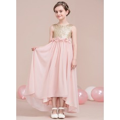 A-Line/Princess Scoop Neck Asymmetrical Chiffon Junior Bridesmaid Dress With Flower(s) Bow(s) (009115400)