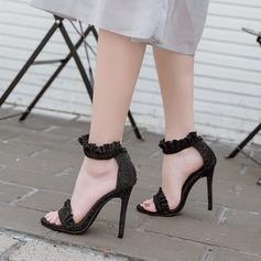Femmes Suède Talon stiletto Sandales Escarpins À bout ouvert avec Plissé Zip chaussures