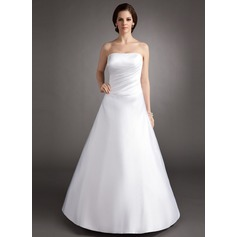 A-Line/Princess Strapless Floor-Length Satin Quinceanera Dress With Ruffle
