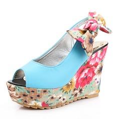 Frauen Kunstleder Keil Absatz Sandalen Absatzschuhe Plateauschuh Keile mit Bowknot Schuhe