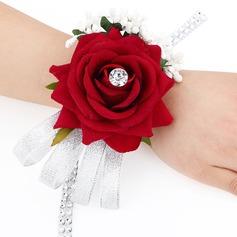 Simples e elegante rosado Tecido Buquê de pulso (Vendido em uma única peça) - Buquê de pulso