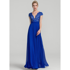A-Line/Princess V-neck Floor-Length Chiffon Evening Dress With Ruffle (017116321)