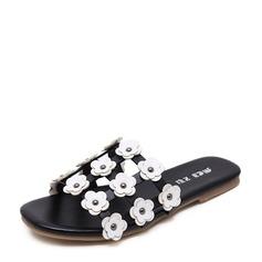 Kvinnor Konstläder Flat Heel Platta Skor / Fritidsskor Tofflor med Blomma skor