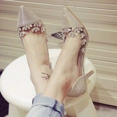 Women's Sparkling Glitter Stiletto Heel Closed Toe Beach Wedding Shoes With Rhinestone