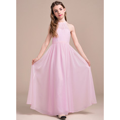 A-Line/Princess Scoop Neck Floor-Length Chiffon Junior Bridesmaid Dress With Ruffle (009081144)