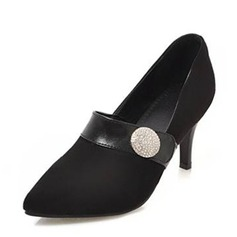 Frauen Veloursleder Kegel Absatz Absatzschuhe Geschlossene Zehe mit Schnalle Zweiteiliger Stoff Schuhe