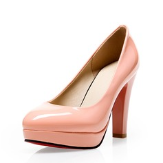 Naisten Kiiltonahka Chunky heel Avokkaat Suljettu toe kengät