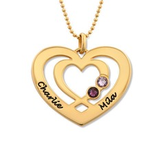 Custom 18k Gold Plated Two Name Necklace Heart Necklace Birthstone Necklace Engraved Necklace (288209261)